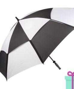 Windproof golfparaplu zwart wit geblokt bedrukken