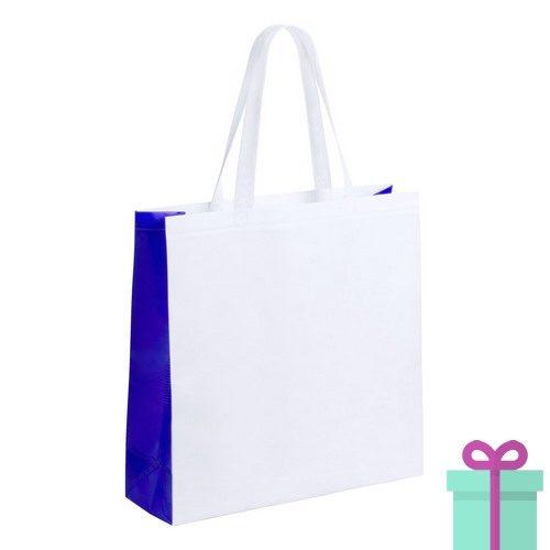 Witte gelamineerde non-woven shopper blauw bedrukken