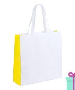 Witte gelamineerde non-woven shopper geel bedrukken