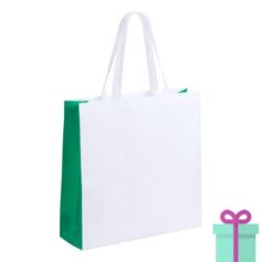 Witte gelamineerde non-woven shopper groen bedrukken