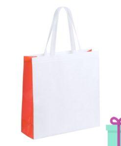 Witte gelamineerde non-woven shopper oranje bedrukken