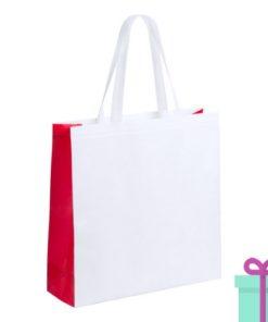 Witte gelamineerde non-woven shopper rood bedrukken