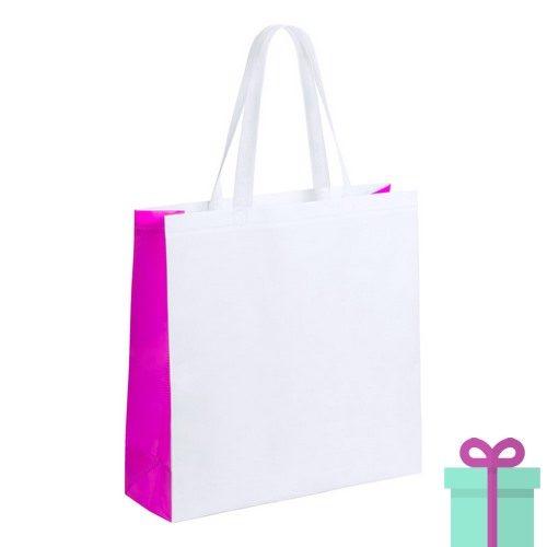 Witte gelamineerde non-woven shopper roze bedrukken