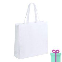 Witte gelamineerde non-woven shopper wit bedrukken