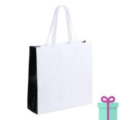 Witte gelamineerde non-woven shopper zwart bedrukken