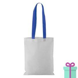 Witte non-woven shopper lang gekleurd hengsel blauw bedrukken