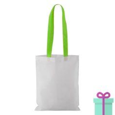 Witte non-woven shopper lang gekleurd hengsel groen bedrukken