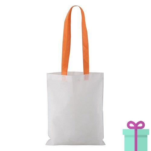 Witte non-woven shopper lang gekleurd hengsel oranje bedrukken