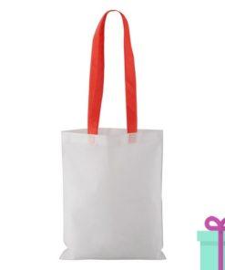 Witte non-woven shopper lang gekleurd hengsel rood bedrukken
