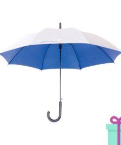 Zilveren paraplu haak automatisch blauw bedrukken