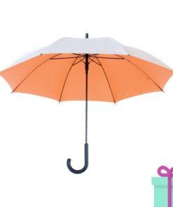 Zilveren paraplu haak automatisch oranje bedrukken