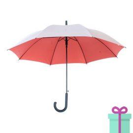 Zilveren paraplu haak automatisch rood bedrukken