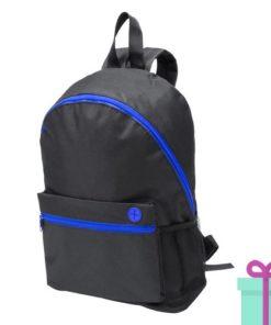 Zwarte rugzak gekleurde rits blauw bedrukken