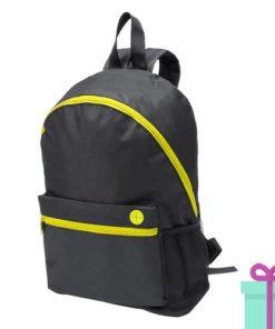 Zwarte rugzak gekleurde rits geel bedrukken