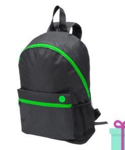 Zwarte rugzak gekleurde rits groen bedrukken