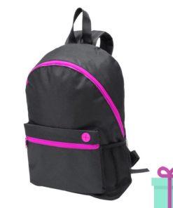 Zwarte rugzak gekleurde rits roze bedrukken