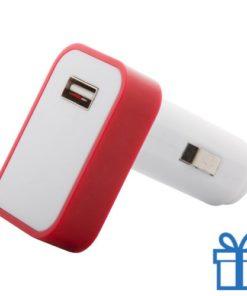 Auto USB lader gekleurd LED rood bedrukken
