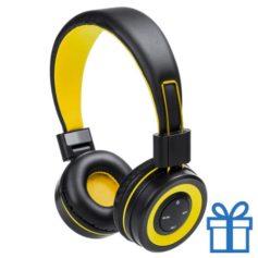 Bluetooth koptelefoon handsfree functie geel bedrukken
