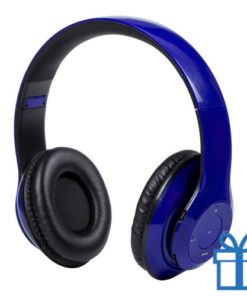 Bluetooth koptelefoon opvouwbaar mp3 blauw bedrukken