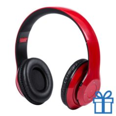 Bluetooth koptelefoon opvouwbaar mp3 rood bedrukken