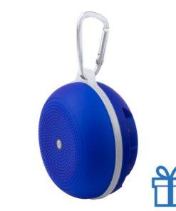 Bluetooth luidspreker accu karabijnhaak blauw bedrukken