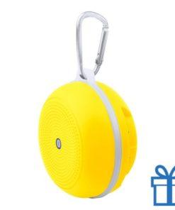 Bluetooth luidspreker accu karabijnhaak geel bedrukken