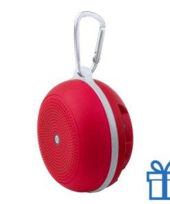 Bluetooth luidspreker accu karabijnhaak rood bedrukken