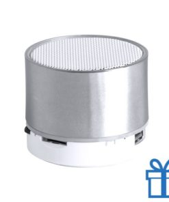 Bluetooth speaker accu LED verlichting zilver bedrukken