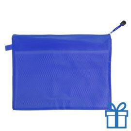 Documenten map rits PVC blauw bedrukken