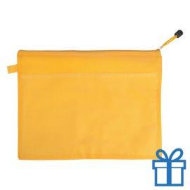 Documenten map rits PVC geel bedrukken