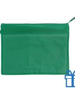 Documenten map rits PVC groen bedrukken
