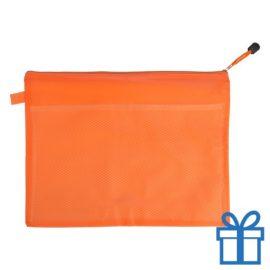 Documenten map rits PVC oranje bedrukken