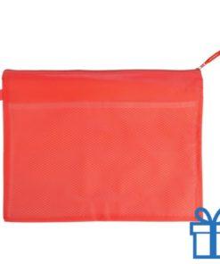 Documenten map rits PVC rood bedrukken