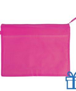 Documenten map rits PVC roze bedrukken
