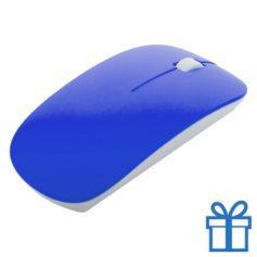 Draadloze optische muis klein blauw bedrukken