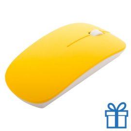 Draadloze optische muis klein geel bedrukken