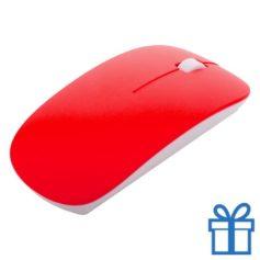 Draadloze optische muis klein rood bedrukken