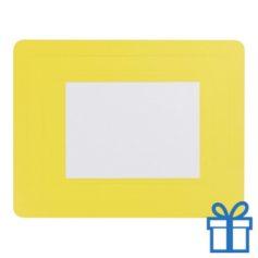 Fotolijst muismat 10x15 cm geel bedrukken