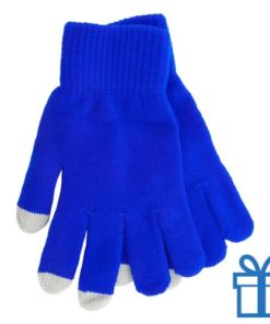 Handschoen touch vingertop blauw bedrukken