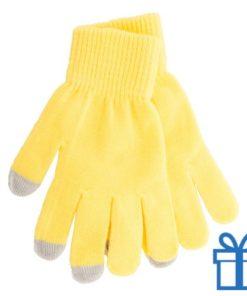 Handschoen touch vingertop geel bedrukken