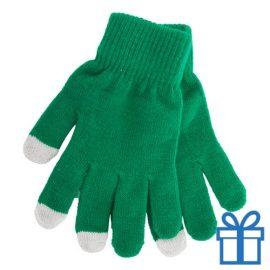 Handschoen touch vingertop groen bedrukken
