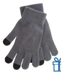 Handschoen touch vingertop lichtgrijs bedrukken