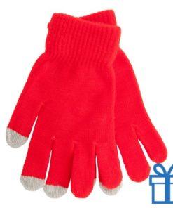 Handschoen touch vingertop rood bedrukken