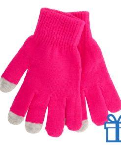 Handschoen touch vingertop roze bedrukken
