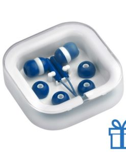 Headset verschillende oordopjes blauw bedrukken