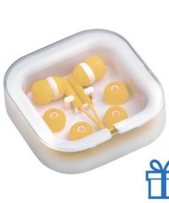 Headset verschillende oordopjes geel bedrukken