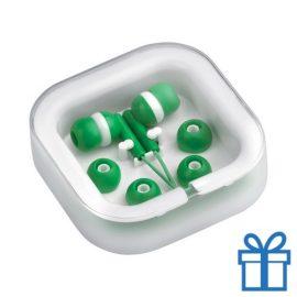 Headset verschillende oordopjes groen bedrukken