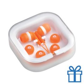 Headset verschillende oordopjes oranje bedrukken