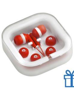 Headset verschillende oordopjes rood bedrukken