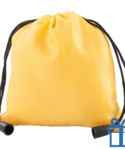 Klein trekkoord tasje geel bedrukken